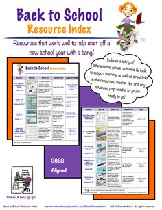 This FREE Back to School Resource Index is a compilation of all my products that work great as back to school activities and resources. The listings include direct links to each product, ways to use them, any prep needed so you're ready to go that first day.   Grades K-3 and 4-8 Common Core aligned.