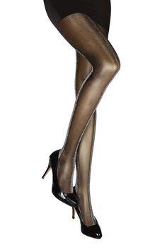 2 Pair Strumpfhose Tights Pantyhose offen schwarz schwarze Naht glänzend glänzen