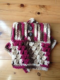 Custom Crochet Boot Cuffs - Color: Light Brown and Berry With Buttons on Etsy, $13.00