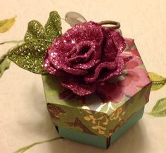 Hexagon explosion box with flowers and butterfly