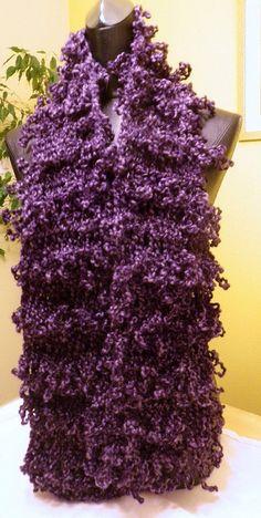 Scarf crochet loop style solid purple custom by accessoriesetc2012, $44.00
