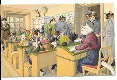 Cartão Postal Alfred Mainzer Escola estudantes Gatos Max kunzli Zurique Anos 50 # 4697 in Colecionáveis, Cartões postais, Animais | eBay