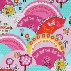 funny Michael Miller fabric colourful hills Happy Hills (per 0.5M multiple): Amazon.co.uk: Toys & Games