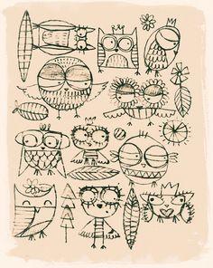 Owl Sketches // Gabriela Salgueiro Acevedo //