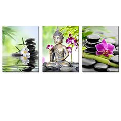 Buddha Canvas Wall ArtSpa Zen Stone Canvas PrintOrchid Flower Home Decal ArtKeep Peace for FramedEasy to Hang 16x20x3pcs40x50cmx3pcs *** Details can be found by clicking on the image.