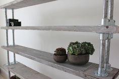 Reclaimed White-washed Scaffolding Boards and Galvanised Steel Pipe Shelving/Bookcase - Urban Storage, Bespoke Industrial Shelving System - Made with Kee Klamp Fittings