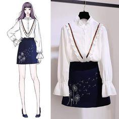 Korean Fashion – How to Dress up Korean Style – Designer Fashion Tips Daily Fashion, Fashion Art, Girl Fashion, Fashion Dresses, Womens Fashion, Fashion Design Sketches, Korean Outfits, Mode Style, Types Of Fashion Styles
