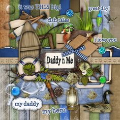 Freebies: 5 Father& Day Themed Digital Scrapbook Kits and Layouts! Paper Bag Scrapbook, Scrapbook Supplies, Scrapbook Kit, Bridal Shower Scrapbook, How To Make A Paper Bag, Fathers Day Photo, Recipe Scrapbook, Birthday Scrapbook, Digital Scrapbooking Layouts