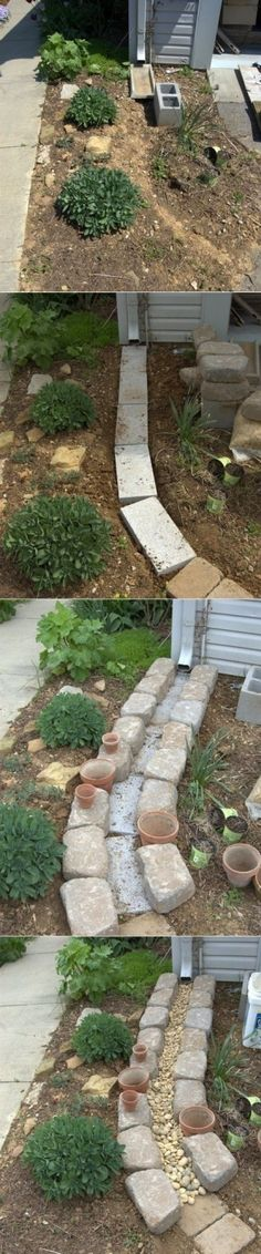 Dry Creek Bed for Drainage. I have a gutter that comes out SO far that you have to step over it on the sidewalk. I might morph this idea.... by dollie