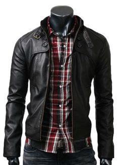 $179 Mens Black Button Pocket Leather Jacket