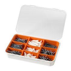 IKEA - FIXA, Set de 260 vis et chevilles, Les vis sont en acier zingué  pour éviter la corrosion.Lorsqu'elle est vide, la boîte permet de ranger de petits objets.