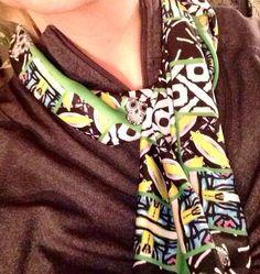 """Green Envy fashion scarf with sugar skulls 56""""x 8"""" on Etsy, $39.99"""