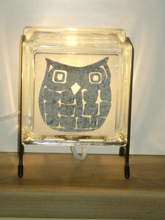Owl lamp upcycled handmade upcycled glass block by Glowblocks