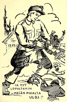 """Cartoon depicting the Winter War. Date, origin unknown. Caption reads """"Stop it now - out of my yard!"""""""