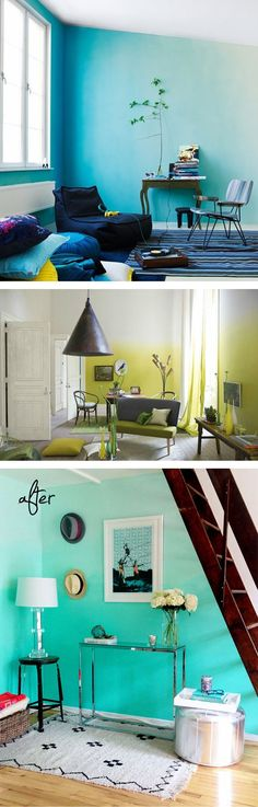 Going to do my living room in a creamy yellow on white ombre as soon as I finish up a few other house projects I've already started. Interior Design Living Room, Interior Decorating, Wall Design, House Design, Sweet Home, Diy Home Decor, Room Decor, My New Room, Home Projects