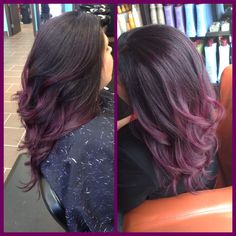 Purple hair!! Dark brown at the root followed by beautifully blended purple!!