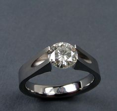 Moissanite Engagement Ring Titanium Tension-Set -- by hersteller Titanium Jewelry, Titanium Rings, Titanium Engagement Rings, Anniversary Jewelry, Bling, Ring Set, Handmade Rings, Diamond Rings, Emerald Rings