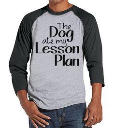 Funny Teacher Shirts - The Dog Ate My Lesson Plan - Teacher Gift - Teacher Appreciation Gift - Gift for Teacher Team - Men's Grey Raglan Tee
