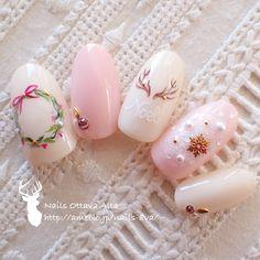 Christmas pink nails #nailbook