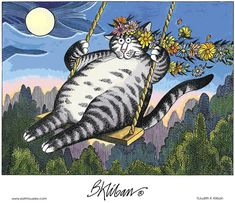 Kliban Cat on Swing at Moonlight I Love Cats, Crazy Cats, Cool Cats, Catsu The Cat, Kliban Cat, Matou, Dog Blanket, Cat Colors, Cat Drawing