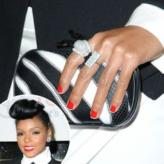 Janelle Monáe red with white tips