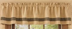 Burlap Black Tan Check Unlined Cotton Window Valance 72x14 Country Home Decor #ParkDesigns #Country