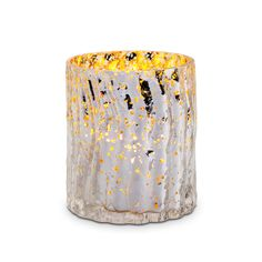 """SILVERY GOLD LUSTER TEALIGHT HOLDER ★★★★★  Set any space aglow with the luster of mercury glass. Antiqued silvery finish and golden interior. Use with tealight, sold separately. 3¼""""h, 2½""""w. $15.00 each"""