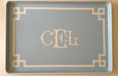 XL white monogram Greek key border light by sarahhansenannapolis