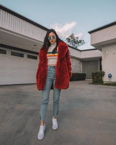 """9 Likes, 2 Comments - LISA CHEN (@misslisachen) on Instagram: """"This fuzzy number is my new obsession - Sunnies @rayban // coat @hm // top @urbanoutfitters //…"""""""