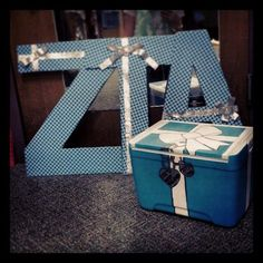 Cooler and fabric letters I made for my big: Sorority Crafts