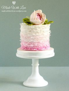 Pink Ombre Ruffle Cake