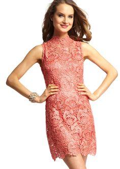 Cute/different  GRACIA  Coral Mock Neck Lace Dress