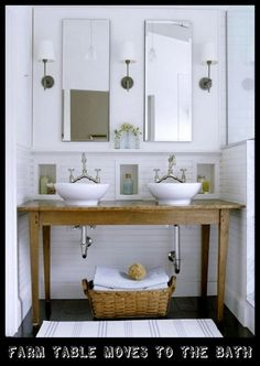"""Standard vanity cabinet depth is 21"""" deep. A 22"""" deep countertop will give you a 1"""" overhang in front. Double sinks typically requires a minimum of two 30"""" wide vanity cabinets. Bowls are centered in each vanity. You can use two 30"""" wide vanities and a stack of 12"""" drawers between and center bowls over the two vanities. If countertop will not be abutting a wall, calculate a 1/2"""" overhang on each end of the counter."""