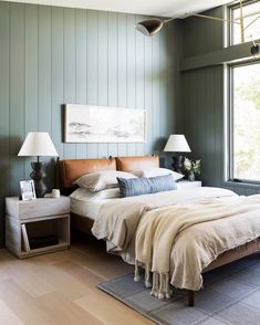 Home Interior Living Room sage green shiplap in the bedroom.Home Interior Living Room sage green shiplap in the bedroom Bedroom Green, Green Rooms, Cozy Bedroom, Home Decor Bedroom, Bedroom Ideas, Sage Green Bedroom, Sage Green Walls, Bedroom Furniture, Scandinavian Bedroom