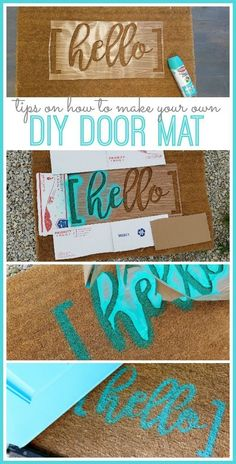 DIY Hello Door Mat – how to make your own! — Sugar Bee Crafts DIY Hello Door Mat – how to make your own! Vinyl Projects, Craft Projects, Projects To Try, Circuit Projects, Vinyl Crafts, Cool Diy Projects, Wood Crafts, Bee Crafts, Diy And Crafts