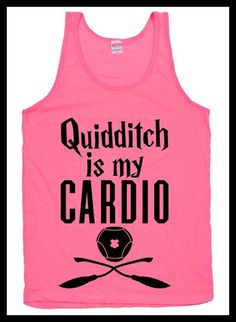 """Quidditch is my cardio"" workout shirt. Pumpin' It Bookworm Style: Bookish Fitness Apparel - BOOK RIOT"