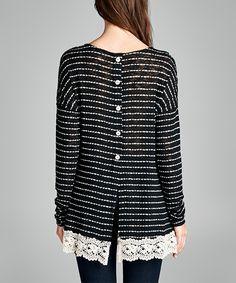 Black Stripe Lace-Hem Button-Back Tunic