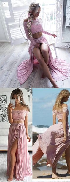 bohemian prom dress, boho prom dress, long prom dress, two piece prom dress, 2017 prom dress, pink prom dress, side slit prom dress, off the shoulder prom dress