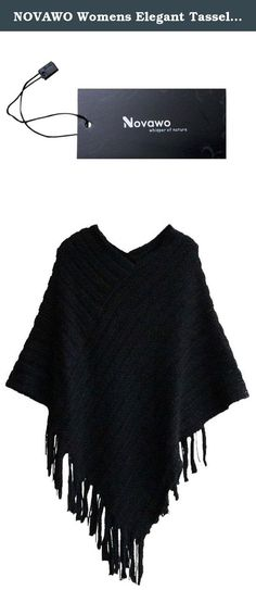 NOVAWO Womens Elegant Tassel Poncho Cape Shawls Batwing Knit Sweater Cloak. Ponchos are the hottest trend out in the fashion world. With the cold seasons coming up, be prepared with this adorable stylish poncho sweater. Unlike a regular poncho that can still be cold, this is actually a sweater that will keep your body warm and cozy! The prints and trim will add character to this unique sweater. Pair it with leggings, jeans, or even a cute skirt! .