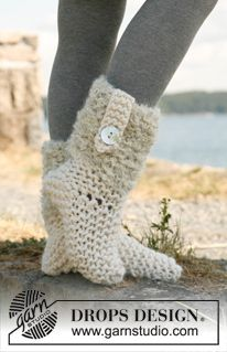"""Knitted socks in """"Polaris"""" and """"Puddel""""....... (Super Chunky, wool, 200g, off white And use: DROPS PUDDEL from Garnstudio 100g, off white 50g, light grey, STRAIGHT NEEDLES SIZE 12 mm [8 sts x 10 rows in stocking st with 1 thread], STRAIGHT NEEDLE SIZE 10 mm - for strap MOTHER-OF-PEARL BUTTONS NO 540: 2 pieces)"""