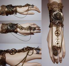 Spiked gears cuff by Pinkabsinthe.deviantart.com on @deviantART