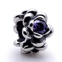 Gems and Silver Purple Flowers  Birthstone Charms   Fit pandora,trollbeads,chamilia,biagi,soufeel and any customized bracelet/necklaces. #Jewelry #Fashion #Silver# handcraft #DIY #Accessory
