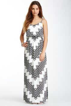 V-Neck Printed Maxi Dress by Pink Owl on @HauteLook