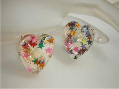 Hearts & star confetti in resin