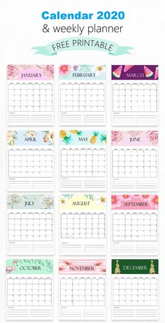 FREE Calendar 2020 Printable: 12 Cute Monthly Designs to Love! This free monthly calendar 2020 printable can help you organize your schedule plan out fun activities map out your goals and so much more! It comes in super cute and unique monthly themes to Monthly Planner Printable, Free Monthly Calendar, Printable Calendar 2020, School Calendar, Print Calendar, Kids Calendar, 2021 Calendar, Monthly Themes, Blank Calendar