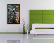 Large abstract art,Abstract wall art, Large Glass art,Original painting,Modern wall light,Retro Glass art,Contemporary Home decor