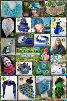 Peacocks - Animal Crochet Pattern Round Up . Some free, some pay. Peacock Crochet, Peacock Pattern, Crochet Birds, Crochet Animals, Crochet Toys Patterns, Crochet Crafts, Crochet Stitches, Crochet Projects, Knitting Patterns