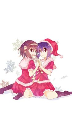 Cute Anime Chirstmas Art Illust Girls #iPhone #5s #wallpaper