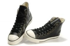 converse canada online store Overseas Black Converse High Tops All Star Ox Leather Sneakers