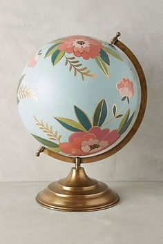 New Anthropologie Stunning Hand Painted Floral Shakespeare Globe Crafts To Do, Arts And Crafts, Diy Crafts, Painted Globe, Hand Painted, Globe Art, Anthropologie Home, Home And Deco, My New Room